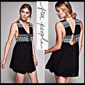FREE PEOPLE SIMPLY BLACK EMBROIDERED MINI DRESS XS